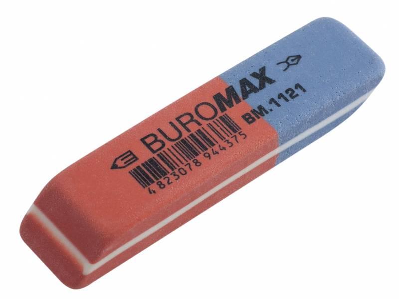 Гумка для олівця Buromax синьо-червоний 58x14x8мм