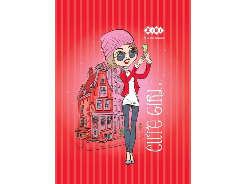 Зібі CUTE GIRL А6, 64л тверда матова ламінація+глітер, червоний