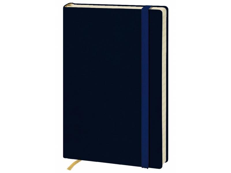 Блокнот Поліграфіст А6 140/2 96л шт.шкіра крем. блок, синя на гумці