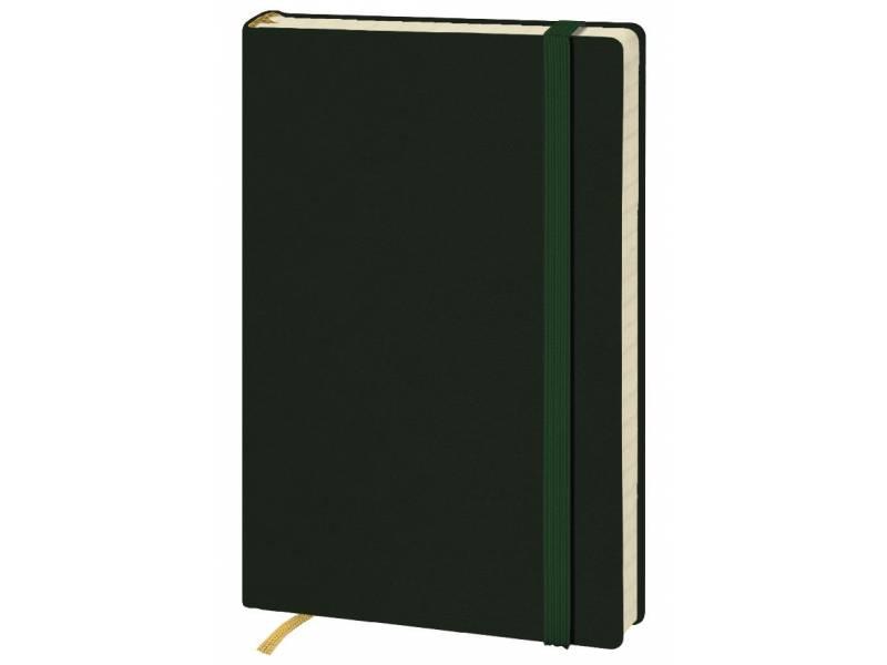 Блокнот Поліграфіст А6 140/2 96л шт.шкіра крем. блок, зелена на гумці
