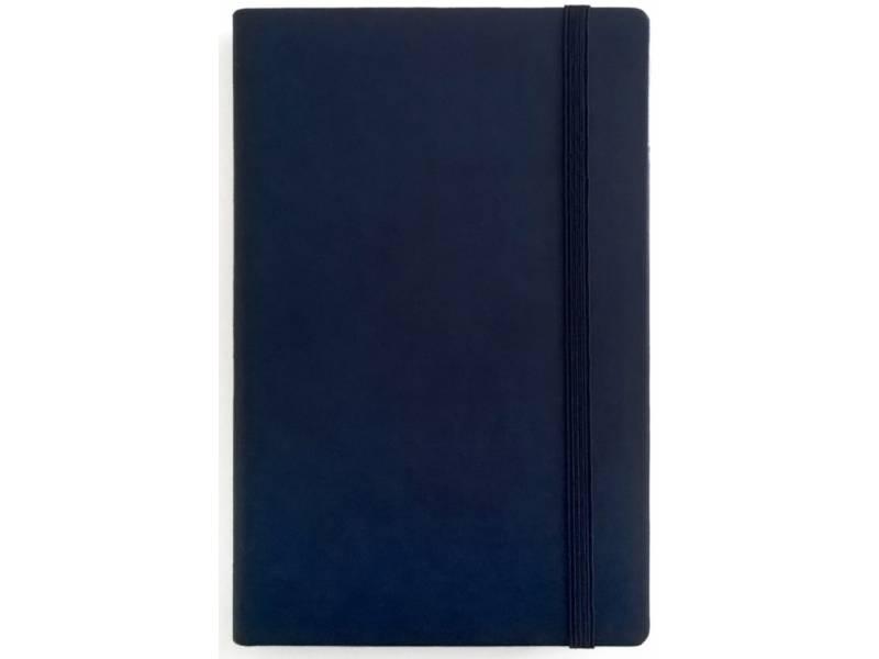 Блокнот Поліграфіст А5 234/1 шт. шкіра на гумці 128л, кремовий блок, синій лінія