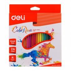 Олівці кольорові Deli COLOR RUN 24кол.