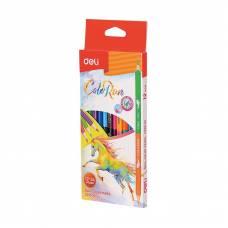 Олівці кольорові Deli COLOR RUN двосторонні 12шт. 24кол.