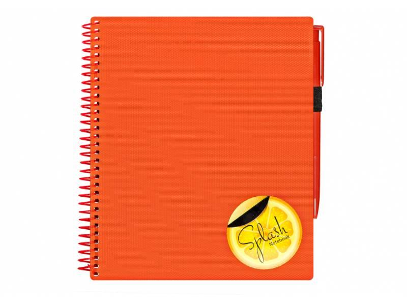 Зошит офісний Optima B5 SPLASH 120л. з ручою спіральний, пластик, обкл. помаранчовий