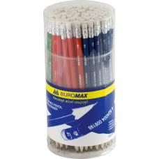 Олівець графітний Buromax з гумкою, асорті