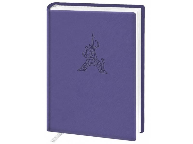 Діловий щоденник Поліграфіст А6 В237 шт.шкіра ТИСНЕННЯ, фіолетовий клітинка
