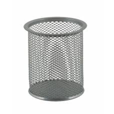 Підставка канцелярська Buromax металева для ручок, кругла 80*80*97мм, срібло