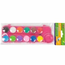 Фарби акварельні Zibi 12кол. сухі в пласт. коробці з натуральним пензлем, рожеві