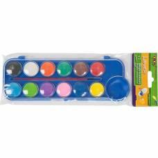 Фарби акварельні Zibi 12кол. сухі в пласт. коробці з натуральним пензлем, сині