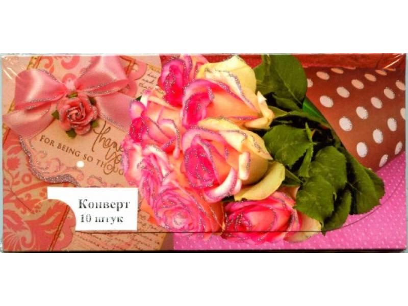 Аксесуари подарункові конверт для грошей ЛВ-01-377 Троянди! (за 10шт) жіночий