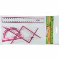 .набір Zibi (20см.+2 кутники+транспортир) з рожевою смугою
