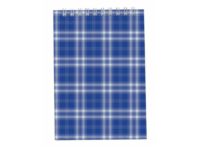 Бюромакс ШОТЛАНДКА А6, 48л картонний на спіралі, синій