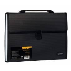 Портфель пластиковий Scholz A4, 12 відділень з реєстрами, чорний