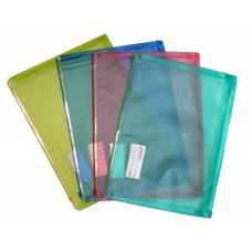 Папка пластикова на блискавці Scholz конверт A4 матовий з розширеним дном, асорті