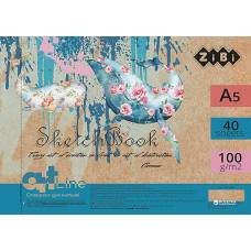Альбом для малювання скетчбук Zibi A5 на пружині 40л 100г/м